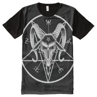 Black & White Baphomet Void Magick Reversed Star All-Over Print T-Shirt