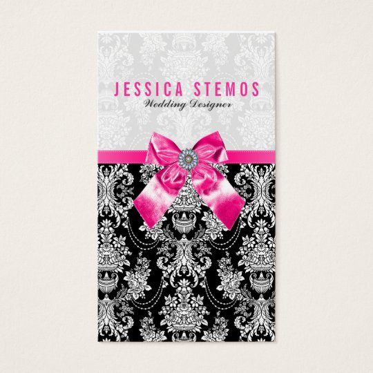 Black & White Baroque Damasks With Pink Bow Business Card