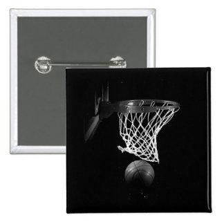 Black & White Basketball 15 Cm Square Badge