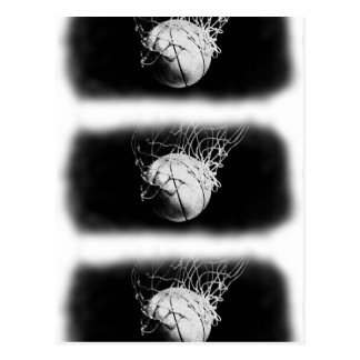 Black & White Basketball Art Postcard