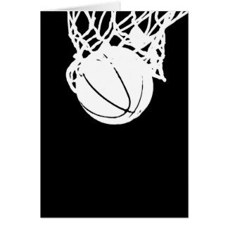 Black & White Basketball Silhouette Greeting Cards