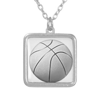 Black & White Basketball Silver Plated Necklace