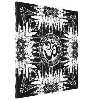 Black White Batik  Om Sign Mandala New Age Canvas Canvas Print