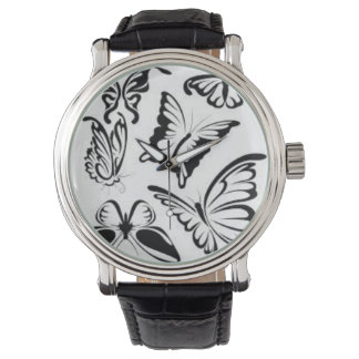 Black,white beautiful butterflies leather watch