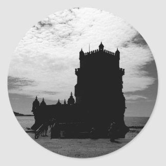 Black White Belem Tower Silhouette | Torre Belem Round Stickers