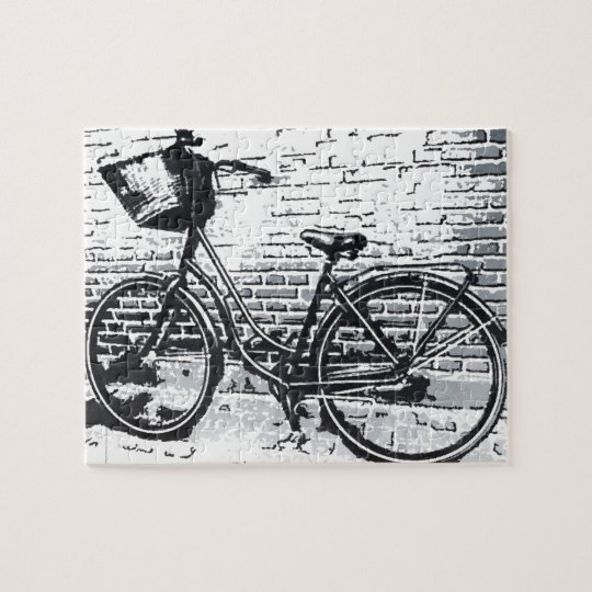 Black & White Bicycle Sketch Jigsaw Puzzle