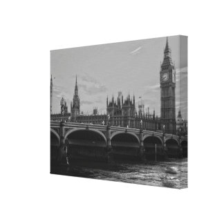 Black & White Big Ben Tower Palace of Westminster Canvas Print