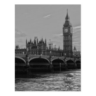 Black White Big Ben Tower Palace of Westminster Postcard