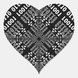 Black & White Binary Fractal Heart Sticker