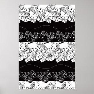 Black white bird abstract minimalistic pattern poster