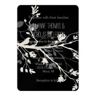 Black White Bird Branches Wedding 13 Cm X 18 Cm Invitation Card
