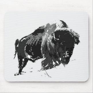 Black White Bison Buffalo Mouse Pad