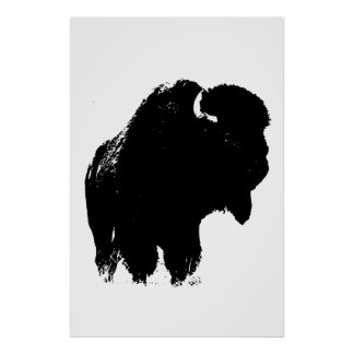Black & White Bison Buffalo Silhouette Pop Art Poster