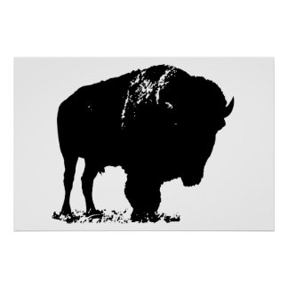 Black & White Bison Buffalo Silhouette Pop Art Poster