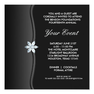 Black White Black Tie Corporate Party Event 13 Cm X 13 Cm Square Invitation Card