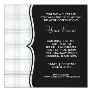 Black White Black Tie Corporate Party Event Card