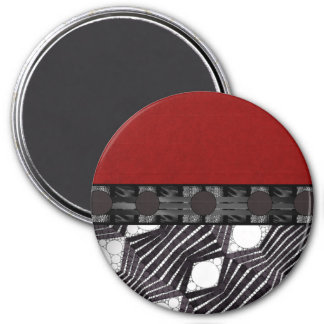 Black White Bling Red Silk 7.5 Cm Round Magnet