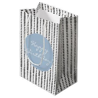 Black White Blue Abstract Print Birthday Gift Bag