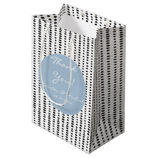 Black White Blue Abstract Print Thank You Gift Bag