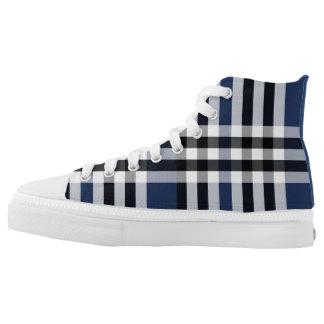 Black/White/Blue Check Plaid High Top Sneakers