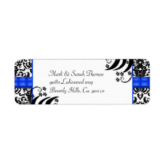 Black, White, & Blue Floral Damask