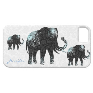 Black White & Blue Floral Elephants & Damasks iPhone 5 Covers