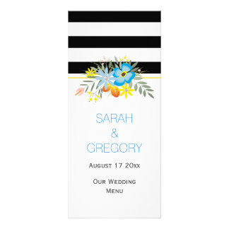 Black white blue flowers modern wedding menu card
