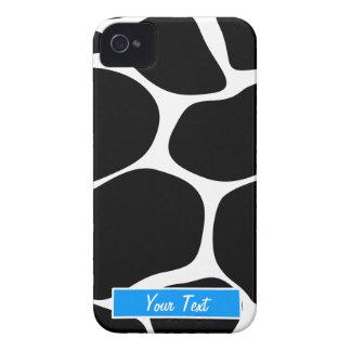 Black/White Blue Giraffe Print - Personalize Case-Mate iPhone 4 Cases