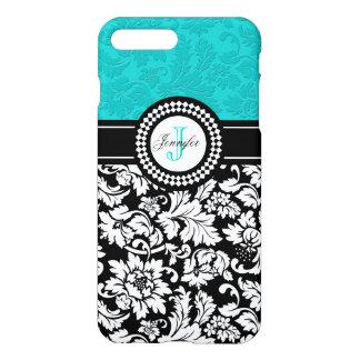 Black White & Blue-Green Vintage Floral Damasks iPhone 7 Plus Case