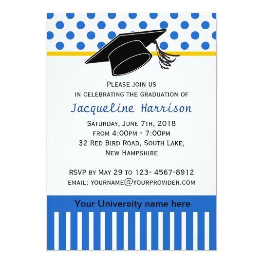 Black white blue polka dot Graduation Party Card