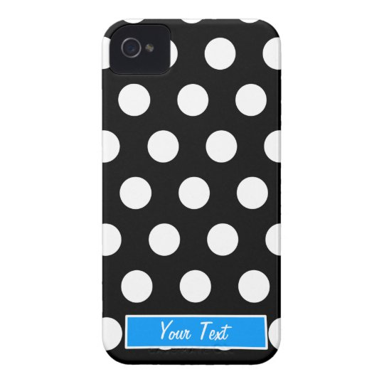 Black/White Blue Polka Dots - Personalise iPhone 4 Cases