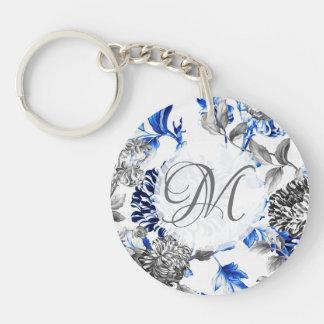 Black & White Blue Vintage Floral Toile Monogram Key Ring
