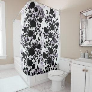 Black White Blush Lavender Purple Floral Toile Shower Curtain