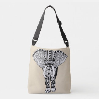 Black & White Bohemian Tribal Elephant Taupe Crossbody Bag