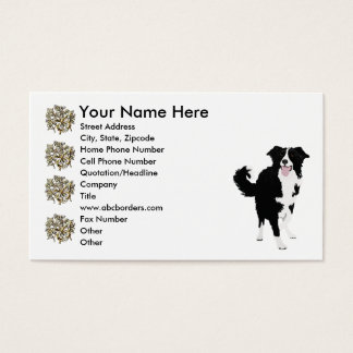 Black & White Border Collie w/ gold trim Business Card