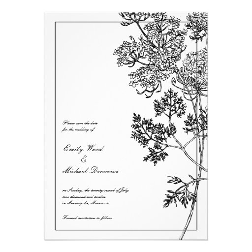 Black White Botanical Illustration Save the Date Personalized Announcements