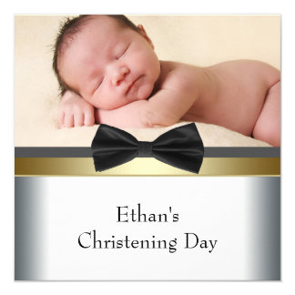 Black White Bow Tie Baby Boy Photo Christening Card