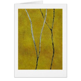 Black & white branches on yellow abstract painting card