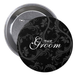 "Black white ""Bridal party"" floral 7.5 Cm Round Badge"