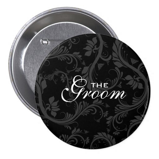 "Black white ""Bridal party"" floral Buttons"