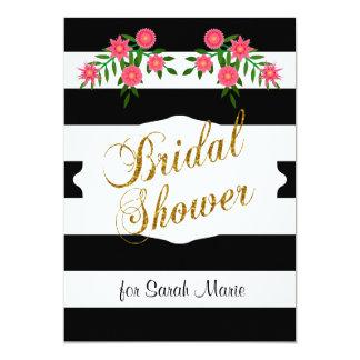 Black & White Bridal Shower | Pink Flowers 13 Cm X 18 Cm Invitation Card