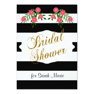 Black & White Bridal Shower | Pink Flowers Card