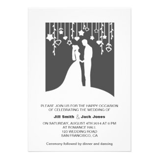 Black white bride and groom paper-cut-look personalized announcement