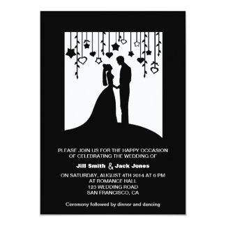Black & white bride and groom silhouettes wedding 13 cm x 18 cm invitation card