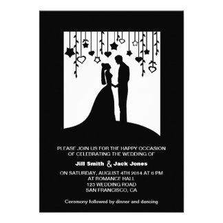 Black white bride and groom silhouettes wedding custom invites