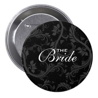 "Black white bride ""Bridal party"" wedding 7.5 Cm Round Badge"