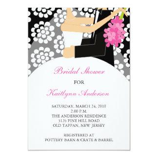 """Black & White Bride Bridal Shower Invitation 5"""" X 7"""" Invitation Card"""