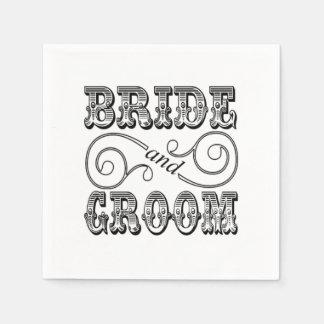 Black & White Bride & Groom Design Disposable Serviettes