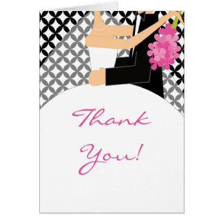 Black & White Bride & Groom Thank You Note Card
