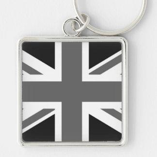 Black & White British Flag Key Ring